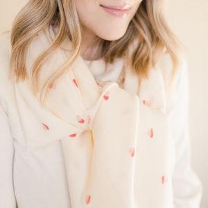 lc lauren conrad two-tone heart print scarf